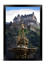 Edinburgh Castle and Ross fountain, Framed Print