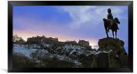 Edinburgh Castle and Scots Grey memorial, Framed Print