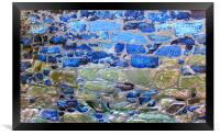 Abstract brick wall with blue tones, Framed Print