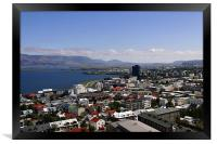 Faxafloi Bay and cityscape, Reykjavik, Iceland, Framed Print
