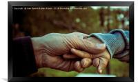 Grandfather and grandson holding hands, Framed Print