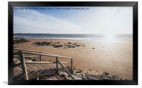 Wooden jetty over the breakwater at low tide, Framed Print