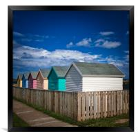Colourful Beach Huts at Amble in Northumberland, Framed Print