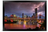 Story Bridge lit up after dark with Brisbane city , Framed Print