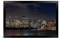 Sydney city skyline at night, Framed Print