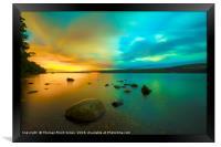 Lochness at Night Northern lights aurora , Framed Print