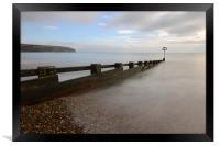 Beach groyne, Swanage., Framed Print