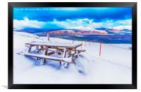 Bench in the Snow, Framed Print