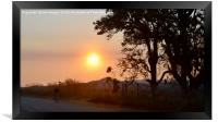 Cyclist at sunset in Zimbabwe, Framed Print