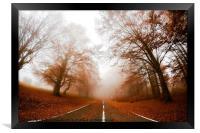 Road in fog, Framed Print