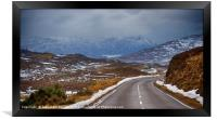 Highland road and mountains, Framed Print