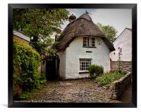 White Thatched Cottage, Framed Print