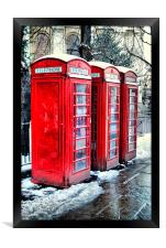 Three Red Telephone Boxes, Framed Print