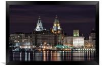 Liverpool Skyline at Night, Framed Print
