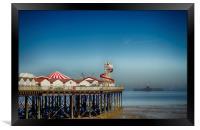 Herne Bay old and new pier Kent , Framed Print