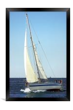 Sailboat ploughing the sea , Framed Print