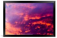 red cloudscape at sunset., Framed Print