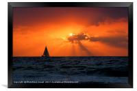 Mediterranean Sun Set and sailboat, Framed Print