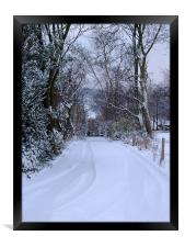 Winter Track and Gate, Framed Print
