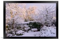 Garden in Snow, Framed Print