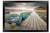 Boats moored to Jetty at Filby, Framed Print