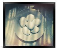 Eggs in a white bowl, Framed Print