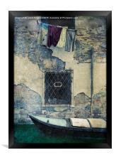 Old Wall and Washing, Framed Print