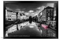 Reflections over Ghent with pink, Framed Print