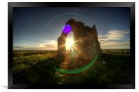 Winter sun at Burrow Mump, Framed Print