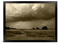 Storm clouds are gathering Sepia, Framed Print