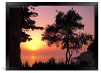 Greek Sunset Silhouette, Framed Print
