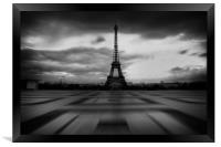 Eiffel Tower, Black and White, Framed Print