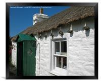 """Manx """"Tholtan"""" cottage, Framed Print"""