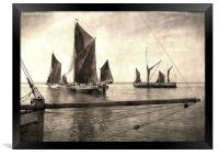 Maldon Barge Match 2010 vintage effect, Framed Print