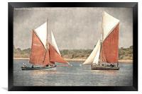 Close encounter - vintage effect, Framed Print