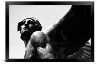 Corleone, Roman statue, winged, Sicily, Black and , Framed Print