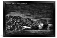 Durdle Door Monotone, Framed Print