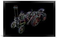 Neon Miniature Traction Engine, Framed Print