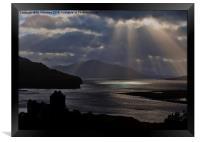 Eilean Donan Castle Sun Rays, Framed Print