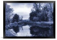 Blue Chinese Bridge Wrest Park, Framed Print