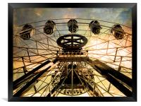 vintage ferris wheel, Framed Print