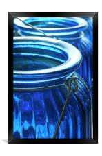 blue glass jars, Framed Print