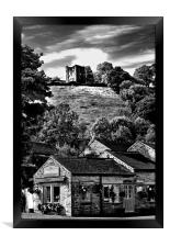 The Three Roofs Cafe Castleton, Framed Print