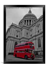 Red London Bus at St. Paul's, Framed Print