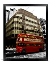 Express Building and London Bus, Framed Print