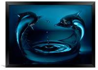 Dolphin splash, Framed Print