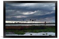 Boy Walking in a Storm Kerala, Framed Print