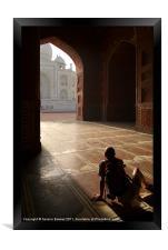 Tourist Photographing Taj Mahal, Framed Print