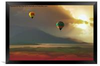 Hot Air Balloons At Sunset, Framed Print