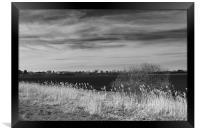 Fenland Scene - A black & white view, Framed Print